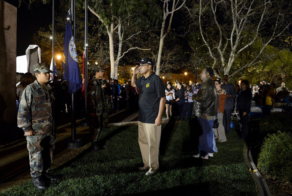 . Hundreds attend the dedication ceremony of the San Dimas H.E.R.O.E.S. Veteran\'s Monument at Freedom Park in San Dimas, CA. Monday, November 11, 2013. (Photo by Jennifer Cappuccio Maher/Inland Valley Daily Bulletin)