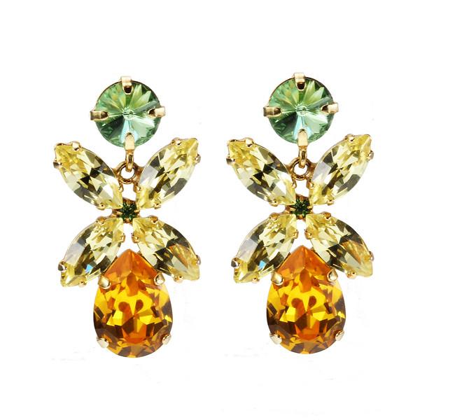 Dione Earrings / Peridot, Jonquil + Sunflower