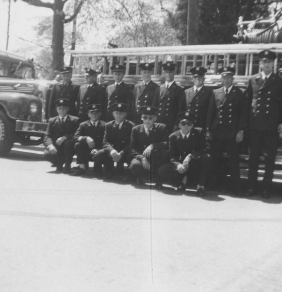 RVFD Members and trucks  (in front of fire house) going to parade