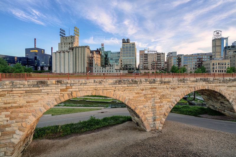 Minneapolis Skyline with Stone Arch Bridge 2019
