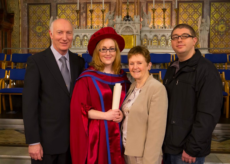 Waterford Institute Of Technology Conferring. Pictured at WIT Waterford Institute Of Technology Conferring is Rosanne Birney, Waterford, who was conferred a Doctor of Philosophy, Also pictured is her parents, Mary & Colin and Husband Morris. Picture: Patrick Browne