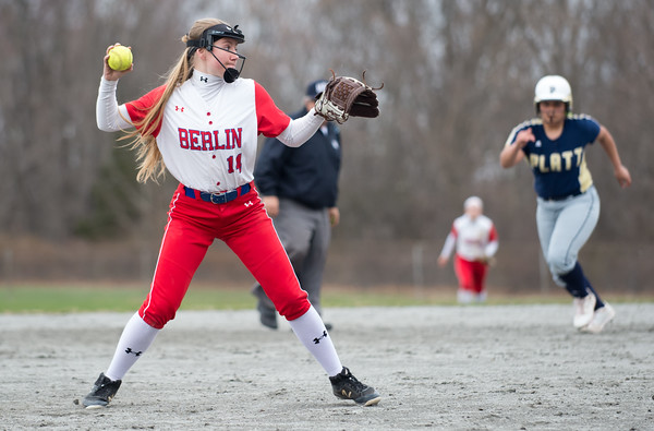 04/12/19 Wesley Bunnell | Staff Berlin softball defeated Platt Tech in an afternoon home game at Sage Park on Friday. Kelsei Zliczewski (14) fields a ground ball to third.