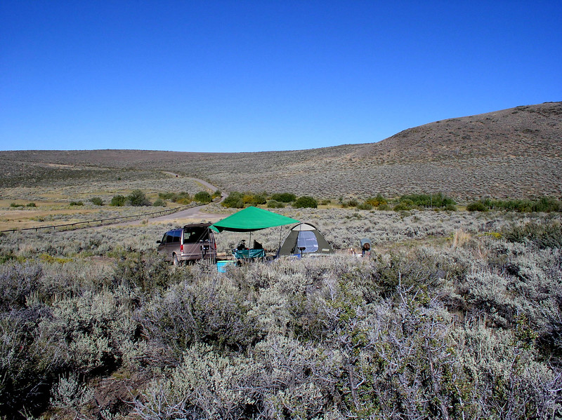 tent camp at Hart Mountain Hot Springs Campground