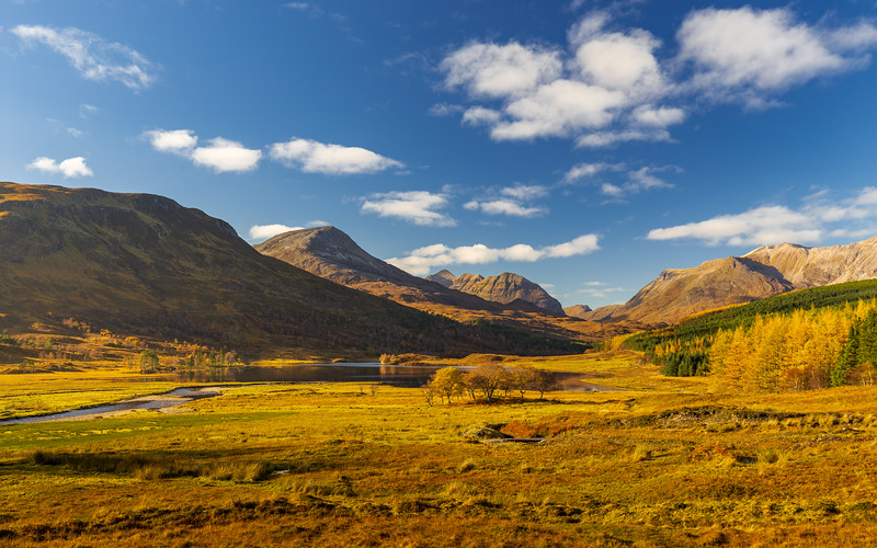 Beautiful autumn colours in mountain valley in the Scottish Highlands