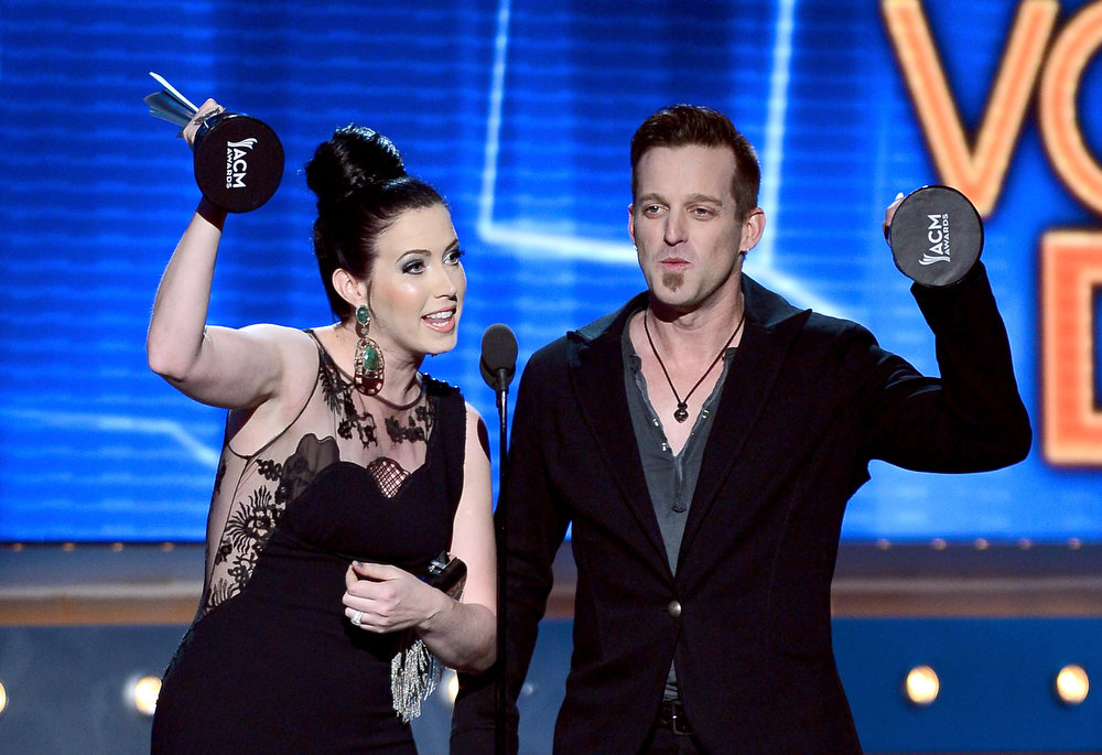 . Musicians Shawna Thompson (L) and Keifer Thompson of Thompson Square accept the Vocal Duo of the Year award onstage during the 48th Annual Academy of Country Music Awards at the MGM Grand Garden Arena on April 7, 2013 in Las Vegas, Nevada.  (Photo by Ethan Miller/Getty Images)