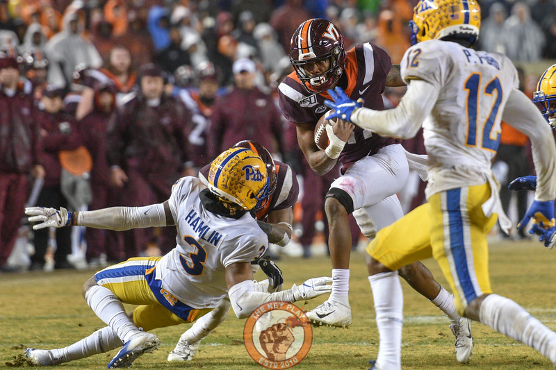Tré Turner cuts upfield during the matchup against Pitt in Lane Stadium on Saturday, Nov. 23, 2019. (Photo: Cory Hancock/TheKeyPlay.com)