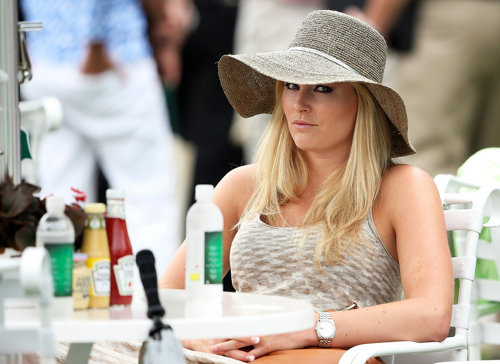 . Skier Lindsey Vonn attends the first round of the 2013 Masters Tournament at Augusta National Golf Club on April 11, 2013 in Augusta, Georgia.  (Photo by Andrew Redington/Getty Images)