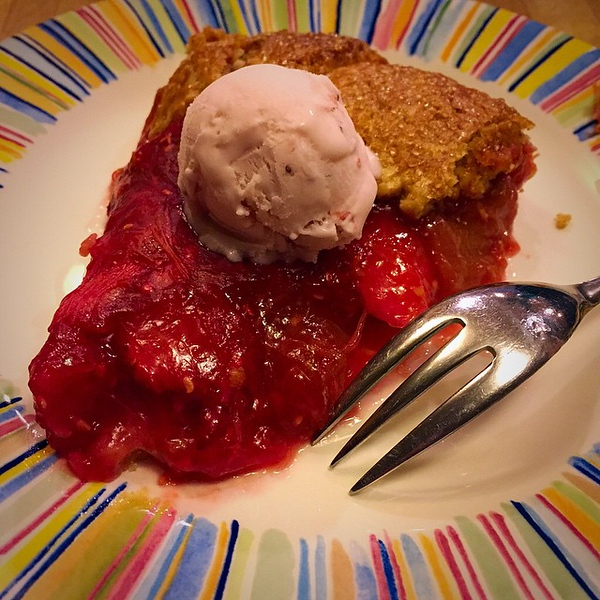 On the table tonite: Rhubarb, Raspberry and Strawberry Crostata with Strawberry Ice Cream