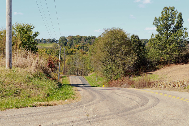 Looking back at one of the hills I had climbed on the way to a repeat visit at the East Township Hall.