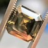 4.57ct Fancy Dark Greenish Yellow Brown Asscher Cut Diamond GIA 2