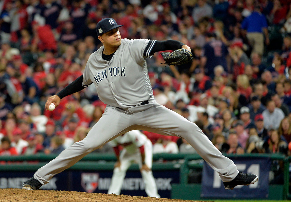 . New York Yankees relief pitcher Dellin Betances delivers in the eighth inning of Game 1 of baseball\'s American League Division Series against the Cleveland Indians, Thursday, Oct. 5, 2017, in Cleveland. (AP Photo/Phil Long)