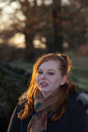 Laura winter stroll in Bradgate Park