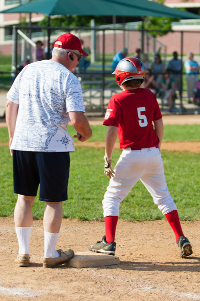 Coach Curt talking to Christopher at 1st base in the bottom of the 6th inning. The Nationals struggled on both offense and defense in a 2-11 loss to the Orioles. They are now 7-4 for the season. 2012 Arlington Little League Baseball, Majors Division. Nationals vs Orioles (19 May 2012) (Image taken by Patrick R. Kane on 19 May 2012 with Canon EOS-1D Mark III at ISO 400, f4.0, 1/2500 sec and 105mm)