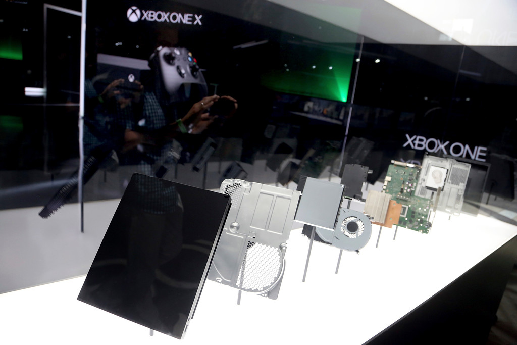 . IMAGE DISTRIBUTED FOR MICROSOFT - The Xbox One X on display at the Xbox Media Showcase at E3 2017 in Los Angeles on Monday, June 12, 2017. (Photo by Casey Rodgers/Invision for Microsoft/AP Images)
