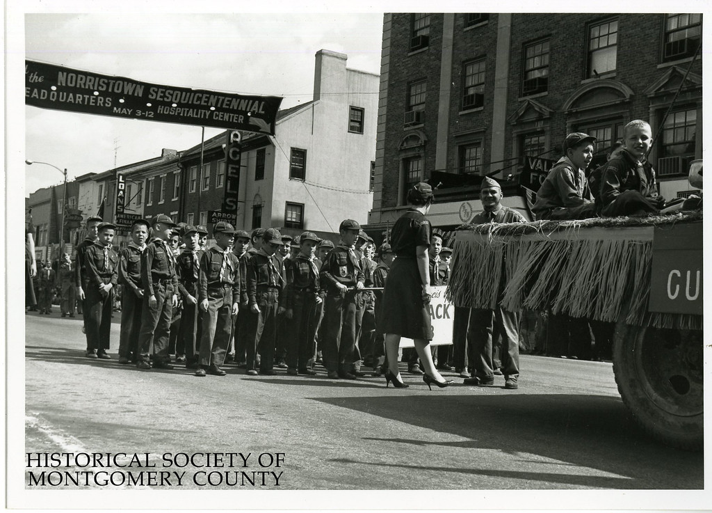 . This photo from the Historical Society of Montgomery County shows the Sesqui Boy Scouts during the 1962 Sesquicentennial Parade in Norristown.