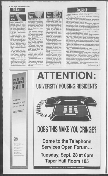 Daily Trojan, Vol. 121, No. 20, September 28, 1993