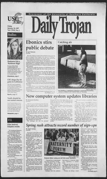 Daily Trojan, Vol. 130, No. 2, January 10, 1997