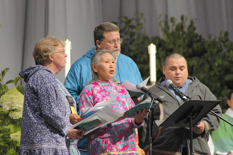 Group of singers from the Alaska Synod open worship with traditional hymns in Inupiak, the native language from the Seward Peninsula.