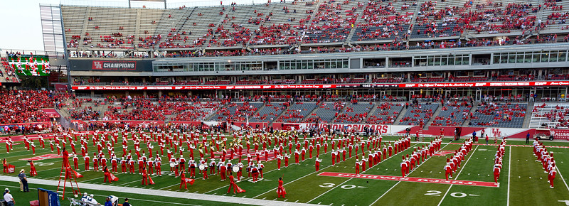 The UH Band puts on its pregame show.
