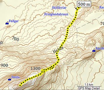 Kort af leiðinni upp Heklu