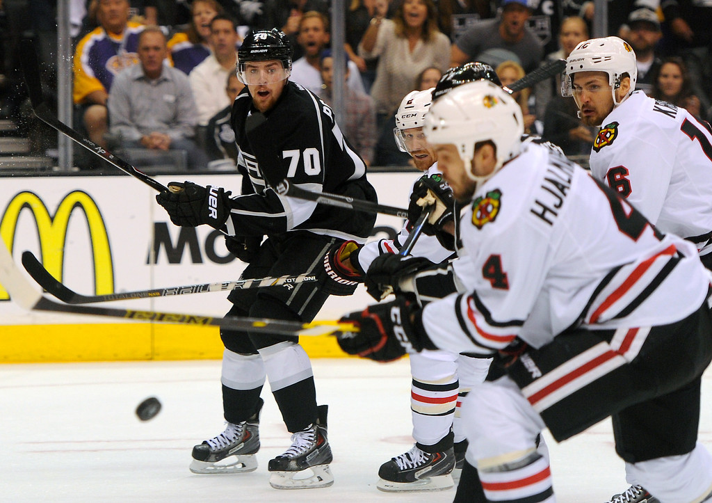 . The Kings\' Tanner Pearson (#70) competes against the Blackhawks during game six of the Western Conference Finals, Friday, May 30, 2014, at Staples Center. (Photo by Michael Owen Baker/Los Angeles Daily News)