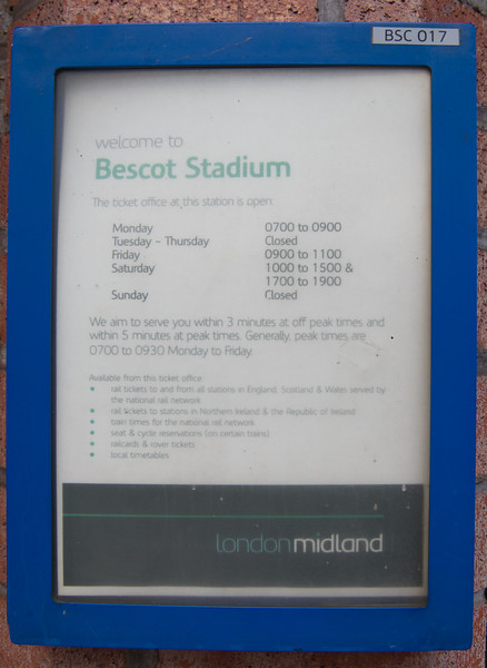 Bescot Stadium booking office opening times, London Midland signage