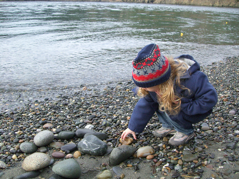 Picking rocks at Deception Pass.