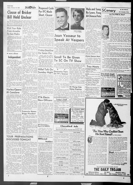 Daily Trojan, Vol. 45, No. 77, February 19, 1954