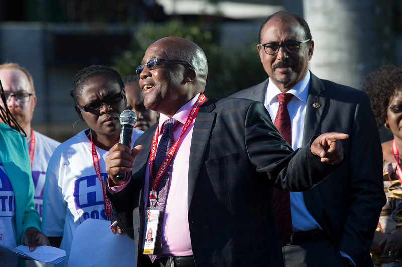 21st International AIDS Conference (AIDS 2016), Durban, South Africa. Photo shows TAC March. South Africa Health Minister Aaron Motsoaledi speaks during the TAC March in Durban, 18 July, 2016. Photo©International AIDS Society/Rogan Ward)