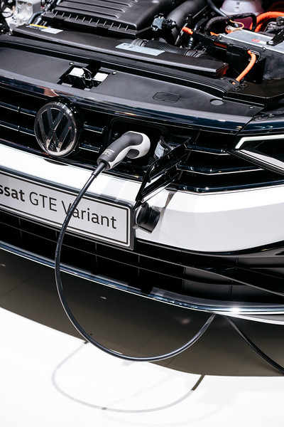 The Volkswagen Passat GTW Variant being charged - Samuel Zeller for the New York Times