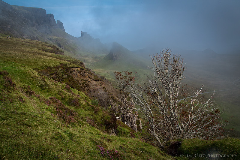 The mist rolls in over the Quirang on the Isle of Skye, Scotland.