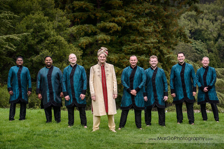 groom and groomsmen at Indian wedding at Tilden Regional Park, Berkeley