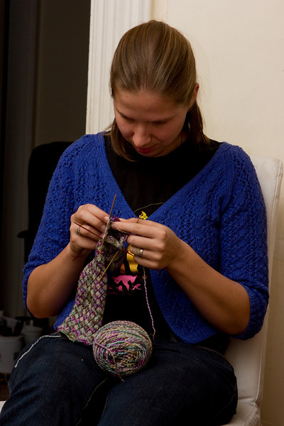 Abby knitting