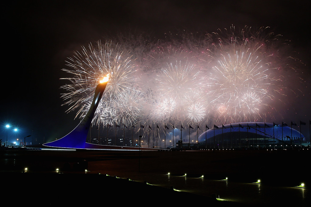 . A general view is seen of fireworks over Fisht Olympic Stadium during the Opening Ceremony of the Sochi 2014 Paralympic Winter Games at Fisht Olympic Stadium on March 7, 2014 in Sochi, Russia.  (Photo by Mark Kolbe/Getty Images)