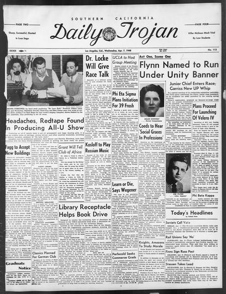 Daily Trojan, Vol. 39, No. 113, April 07, 1948