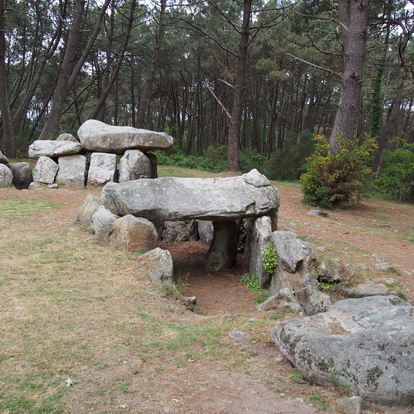 Group of 3 dolmens in a horseshoe layout.