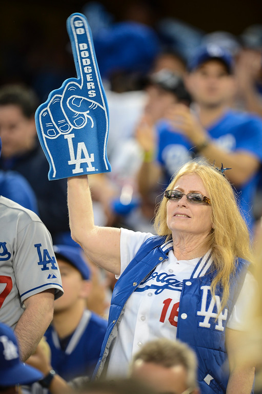 . Dodger fans cheer on the team during game 4 against Atlanta  Monday, October 7, 2013 ( Photo by Hans Gutknecht/Los Angeles Daily News )