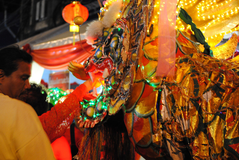 Lucky dragon at the Chinese New Year festivities in Chiang Mai, Thailand.