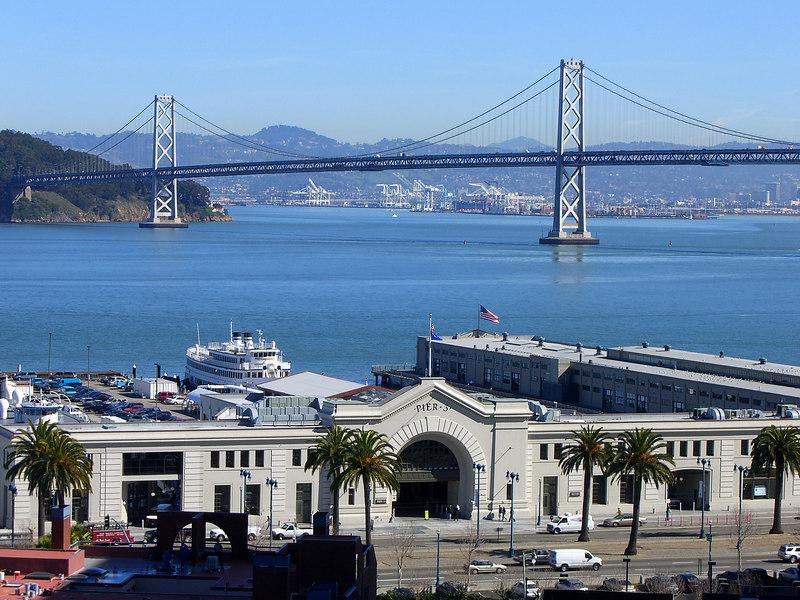 San Francisco Embarcadero at Pier 3, and Bay Bridge