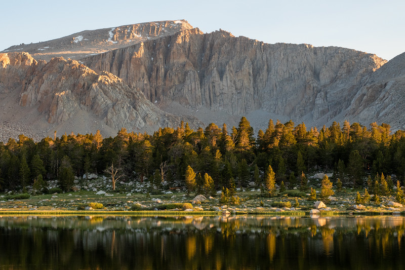Early morning light on Mount Langley and Lake No. 1, just a short walk from our basecamp.