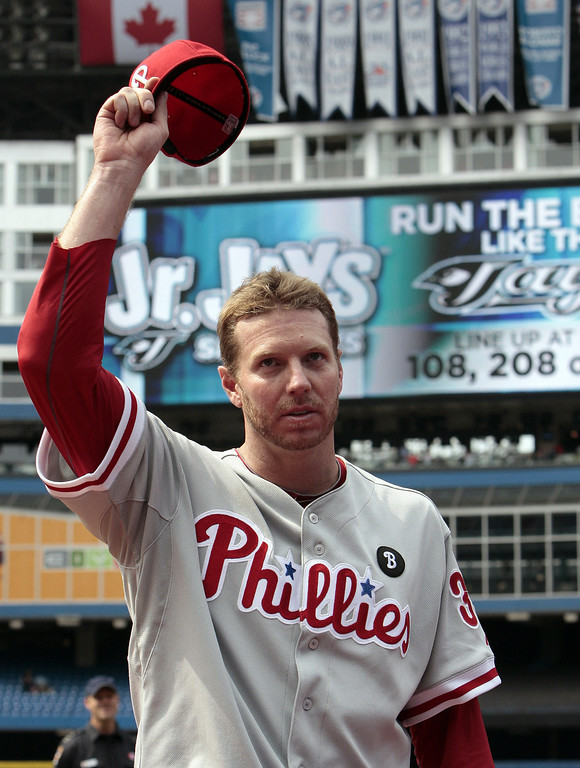 . Roy Halladay #34 of the Philadelphia Phillies waves after a complete game win against the Toronto Blue Jays during MLB action at The Rogers Centre July 2, 2011 in Toronto, Ontario, Canada. (Photo by Abelimages/Getty Images)