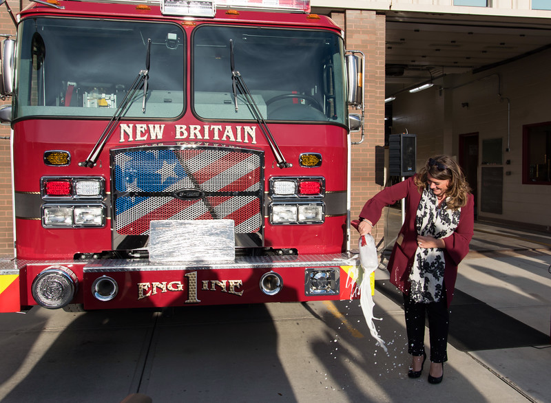 11/14/18  Wesley Bunnell | Staff  The New Britain Fire Department unveiled three new fire trucks on Wednesday afternoon during a ceremony at their Beaver St headquarters. Mayor Erin Stewart dedicates Engine 1 by smashing a bottle of champagne across the bumper.