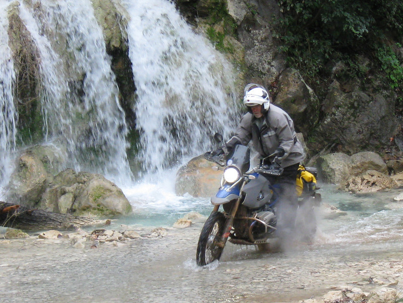 Ronnie at waterfall on the Potrero Redondo route.
