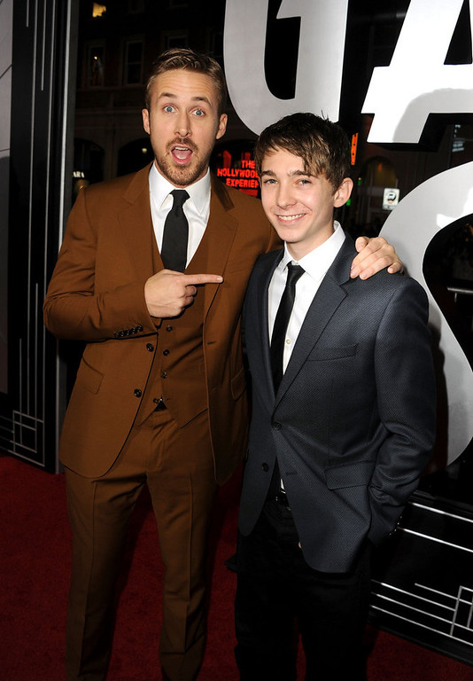 ". Actors Ryan Gosling and Austin Abrams arrive at Warner Bros. Pictures\' ""Gangster Squad\"" premiere at Grauman\'s Chinese Theatre on January 7, 2013 in Hollywood, California.  (Photo by Kevin Winter/Getty Images)"