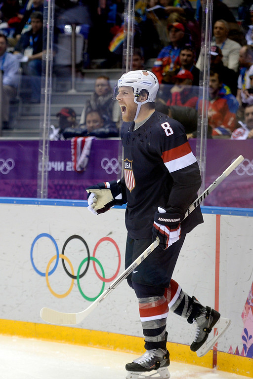 . Joe Pavelski (8) of the U.S.A. celebrates his goal against Russia during  the third period of the U.S.A.\'s win at Bolshoy arena. Sochi 2014 Winter Olympics on Saturday, February 15, 2014. (Photo by AAron Ontiveroz/The Denver Post)