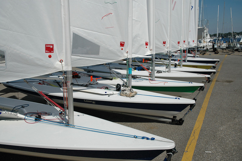 Lasers lined up at Severn Sailing Association.