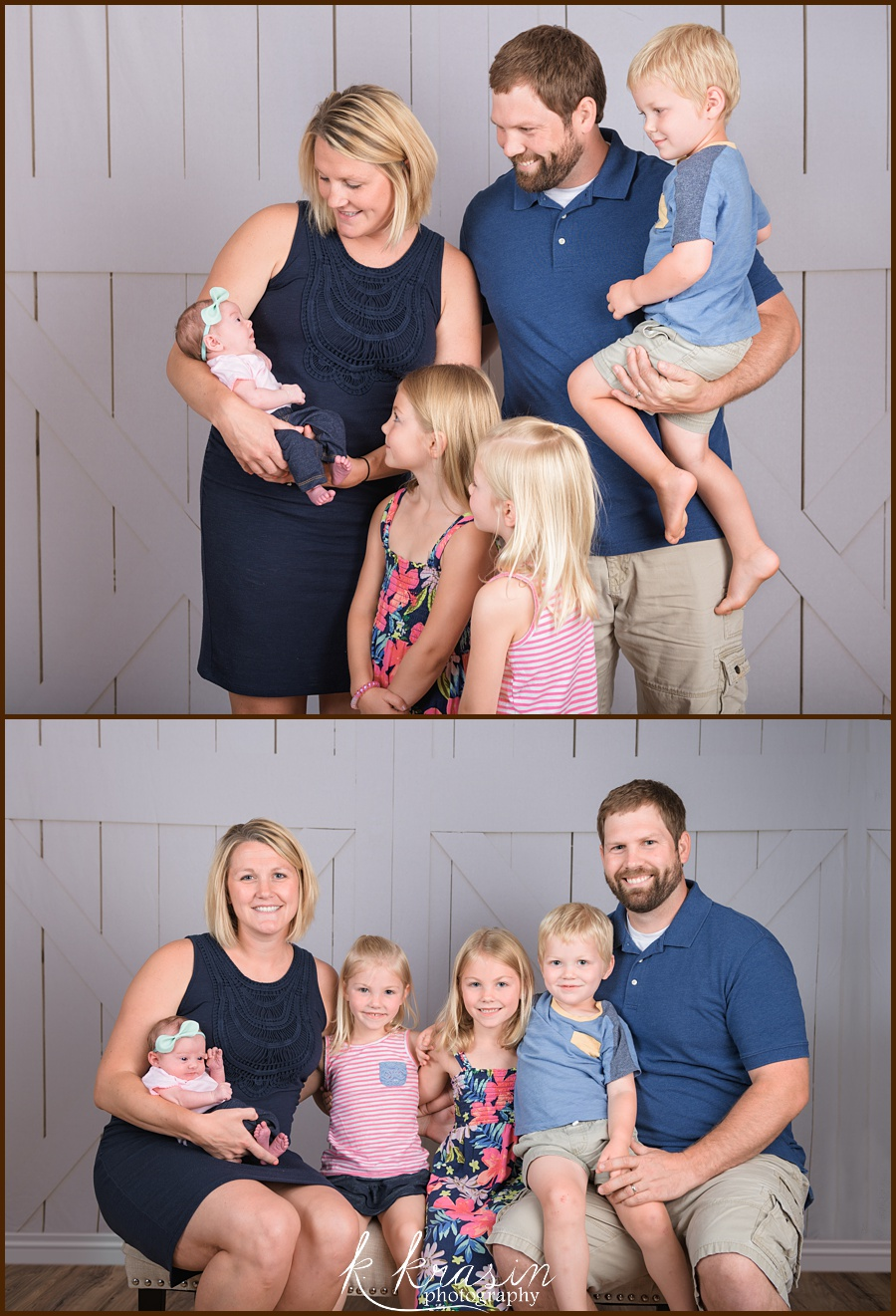 Collage of photos of parents, two girls, a boy, and a newborn girl