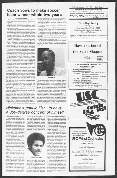 Daily Trojan, Vol. 70, No. 62, January 12, 1977