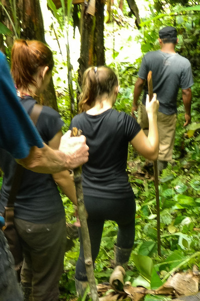Hiking through the mud to the waterfall near Silico Creek, Panama.