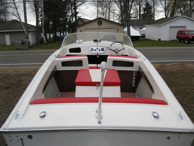 Rear view of the new interior in the finished boat.